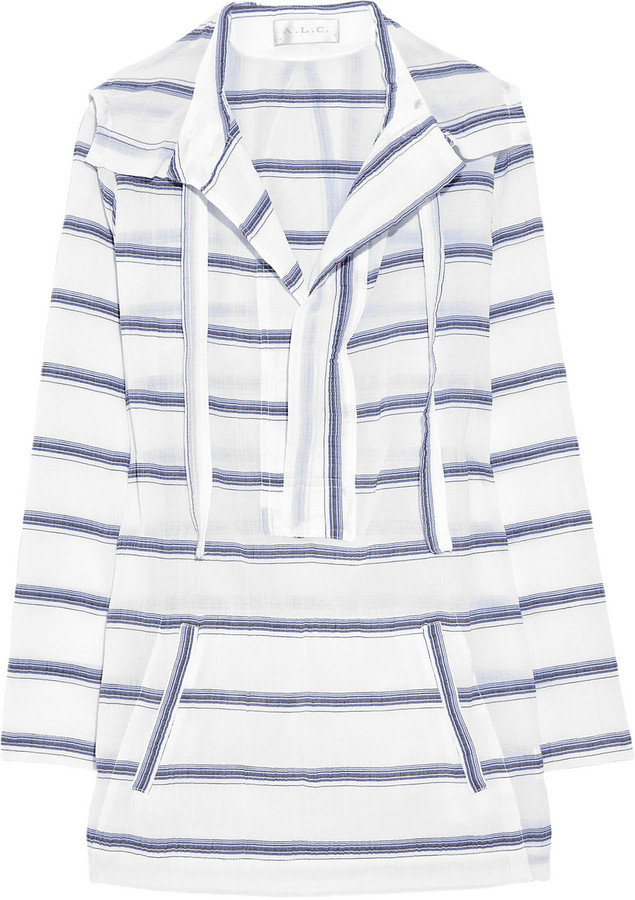 Throw this cotton tunic on over your bikini to warm up after you get out of the water.  A.L.C. Codi Hooded Tunic ($435)