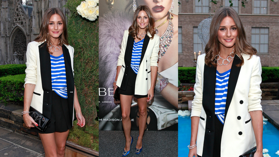 See How Olivia Palermo Stylishly Elevates Her Stripes With a Short Suit