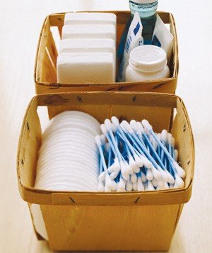 Berry Baskets as Bathroom Storage