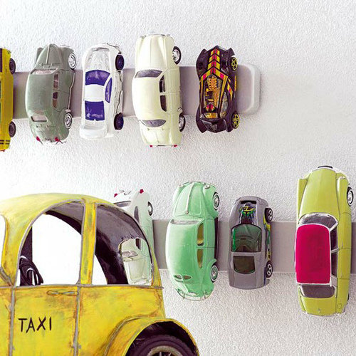 Magnetic Knife Strip as Toy Car Storage