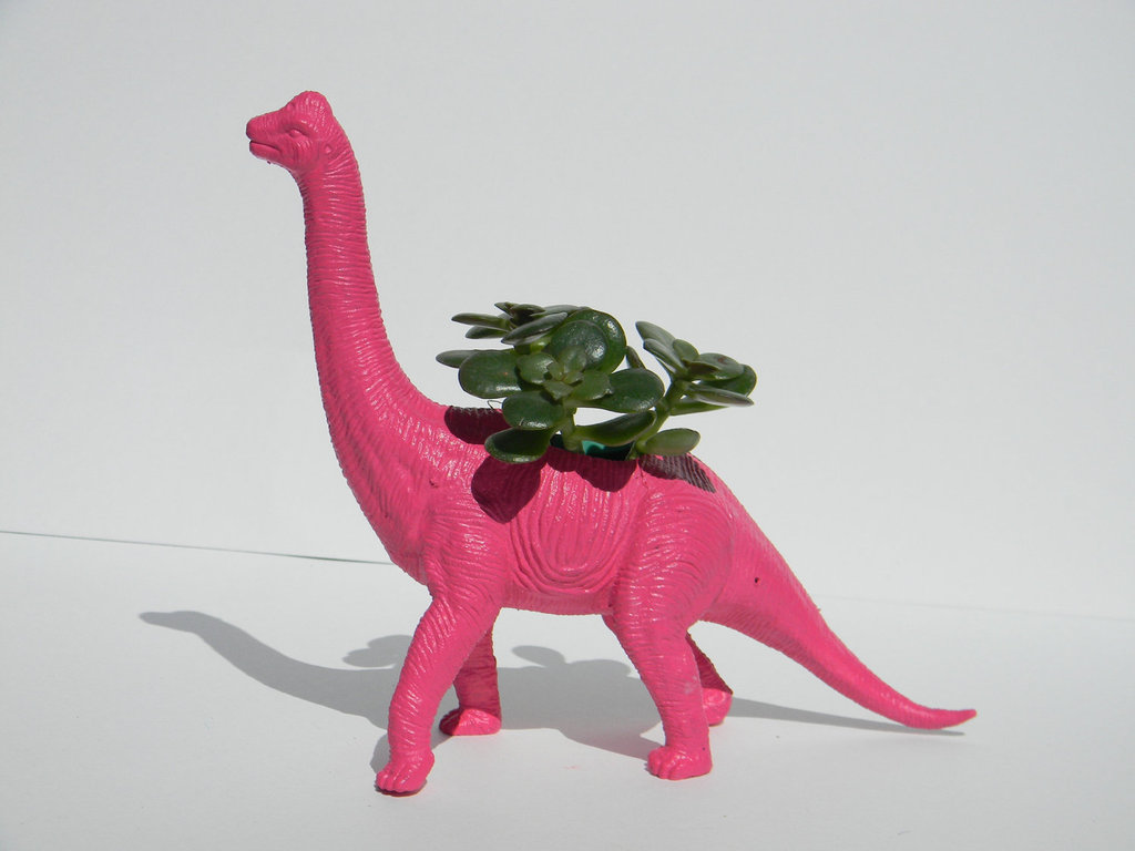 Bubble Gum Pink Dinosaur Planter ($18)