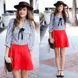 Channel a fun mix of Americana meets French schoolgirl with blue pinstripes and a red circle skirt. Photo courtesy of Lookbook.nu