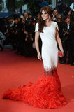 Cheryl Cole brought out the red ostrich-feather train in her Stéphane Rolland gown at the Amour premiere at the Cannes Film Festival in 2012.