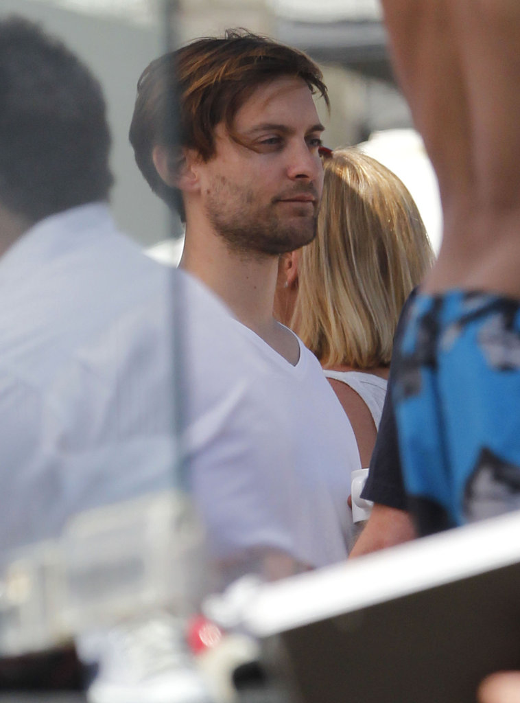Tobey Maguire enjoyed the warm weather at Joel Silver's Memorial Day party in LA.