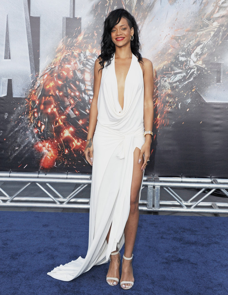 Rihanna took the sexy route in a white Adam Selman gown with a draped neckline.