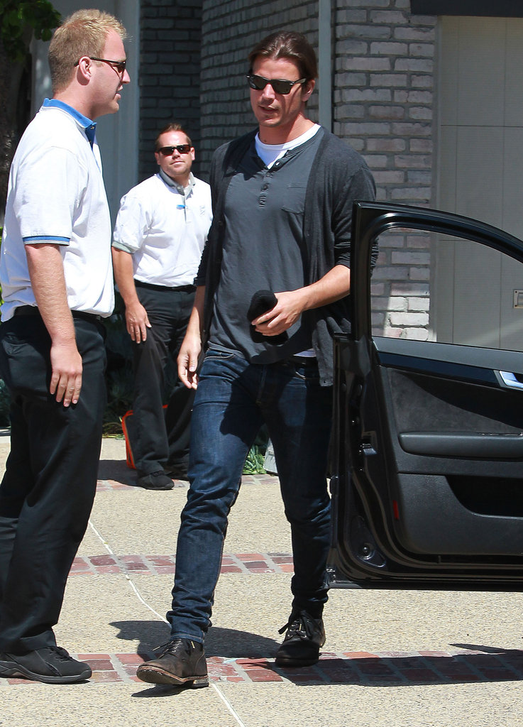 Josh Hartnett departed after Joel Silver's Memorial Day party in LA.