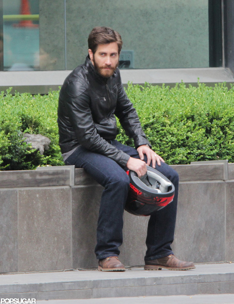 Jake Gyllenhaal took a seat while shooting his next film in Toronto.