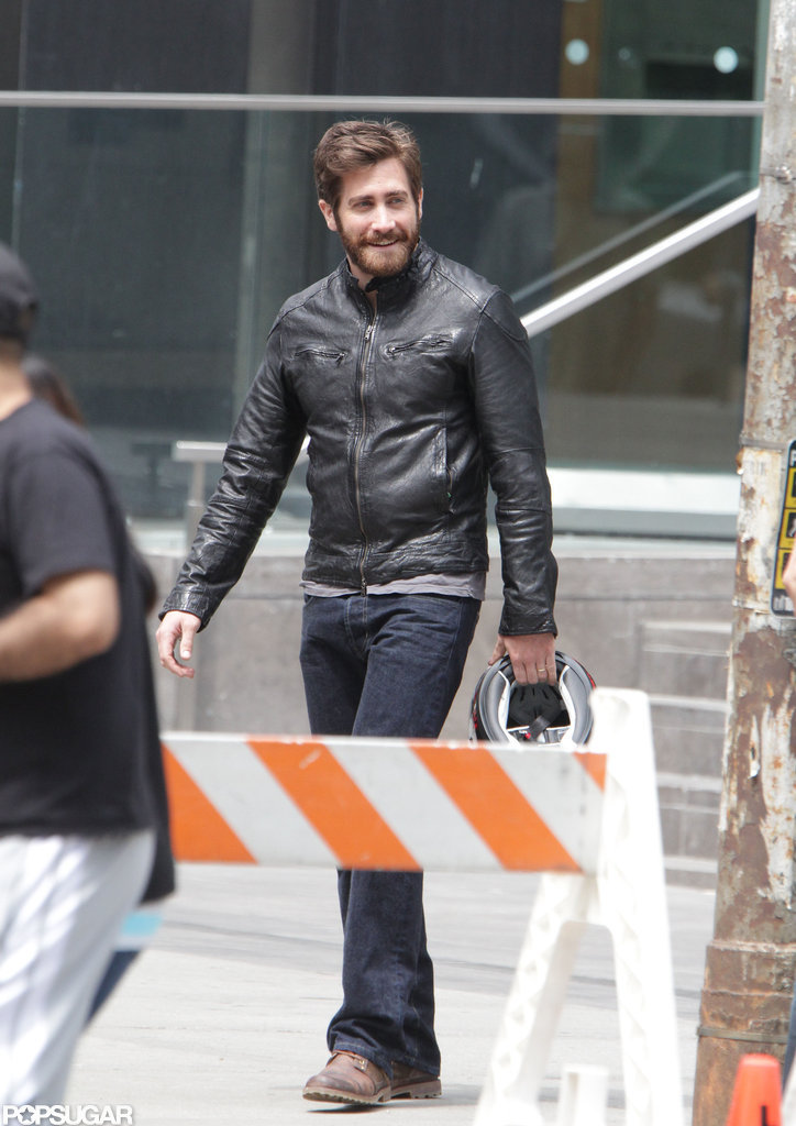 Jake Gyllenhaal smiled big as he spent the day on set in Canada.