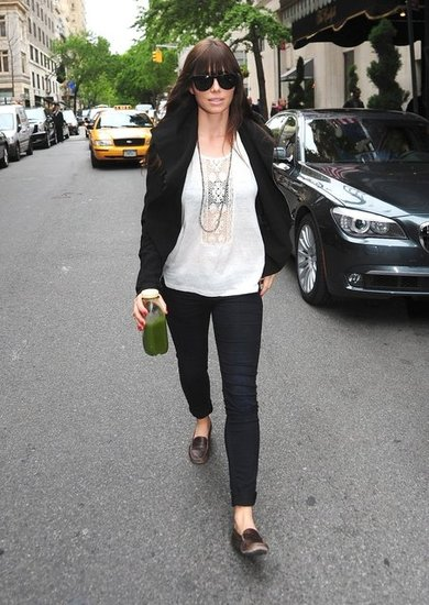Jessica Biel added a touch of menswear-cool to her girlie lace top via a pair of worn-in leather loafers.