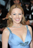 Kylie Minogue styled her Roberto Cavalli gown with a single strand of diamonds.