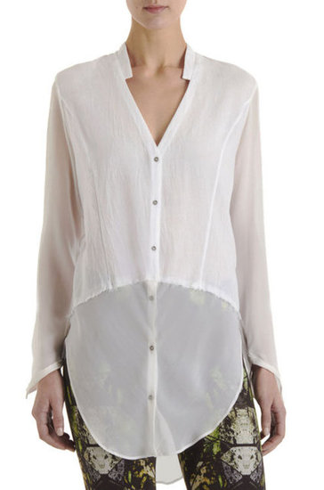 Give your classic white blouse a twist of sex appeal via a subtle see-through hem. Helmut Lange Element Sheer Hem Blouse ($295)
