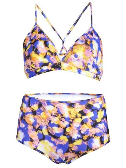We love the thin straps on this printed bikini — it would look great on its own as a bra top under a crochet-knit sweater.  Rodebjer Nera Swimsuit ($245)