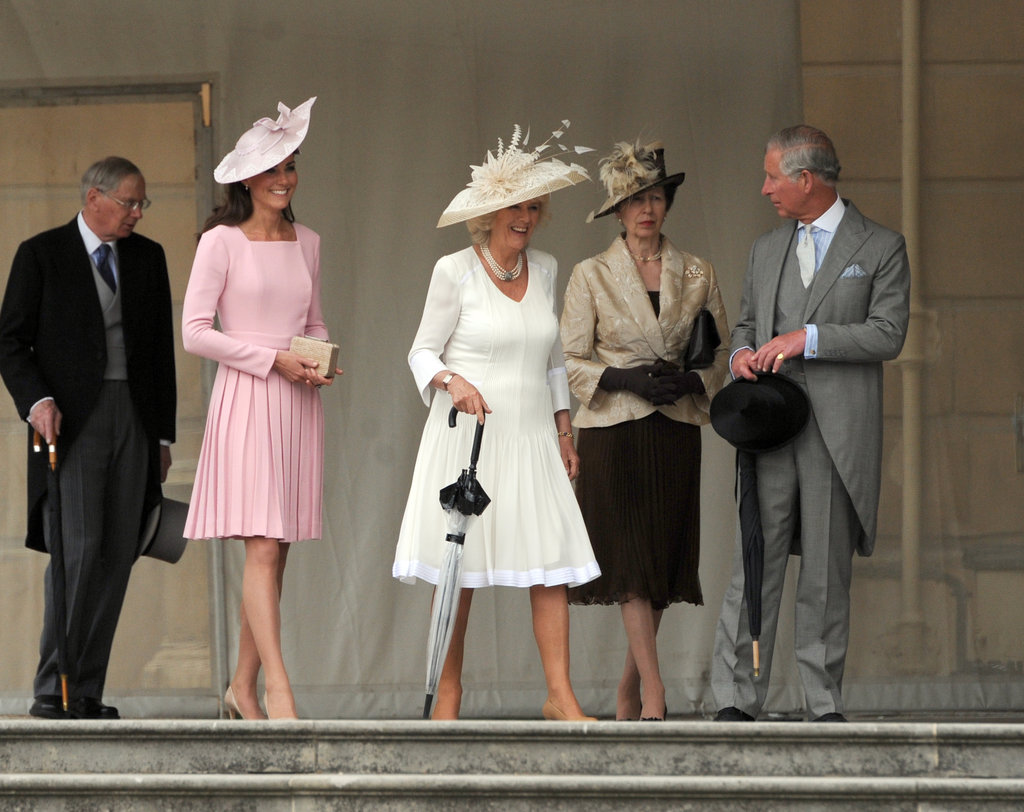 Kate Middleton, Duchess of Cambridge, Camilla, Duchess of Cornwall, Princess Royal, and Prince Charles, Prince of Wales, attended a garden party at Buckingham Palace.