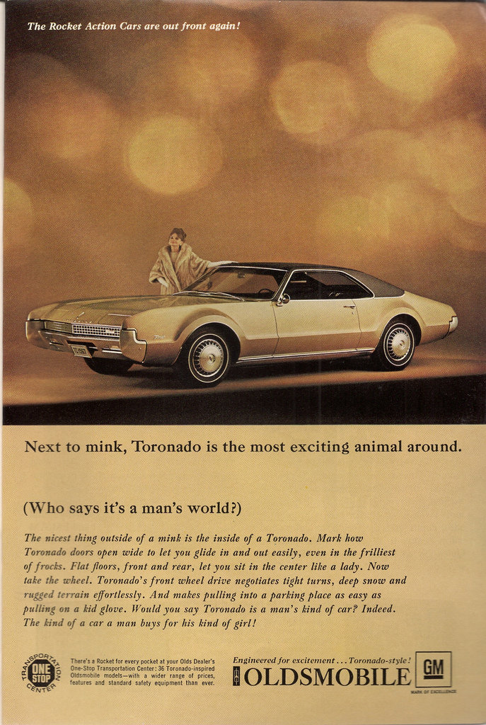 This 1967 Oldsmobile ad is targeting women who love nothing more than mink!