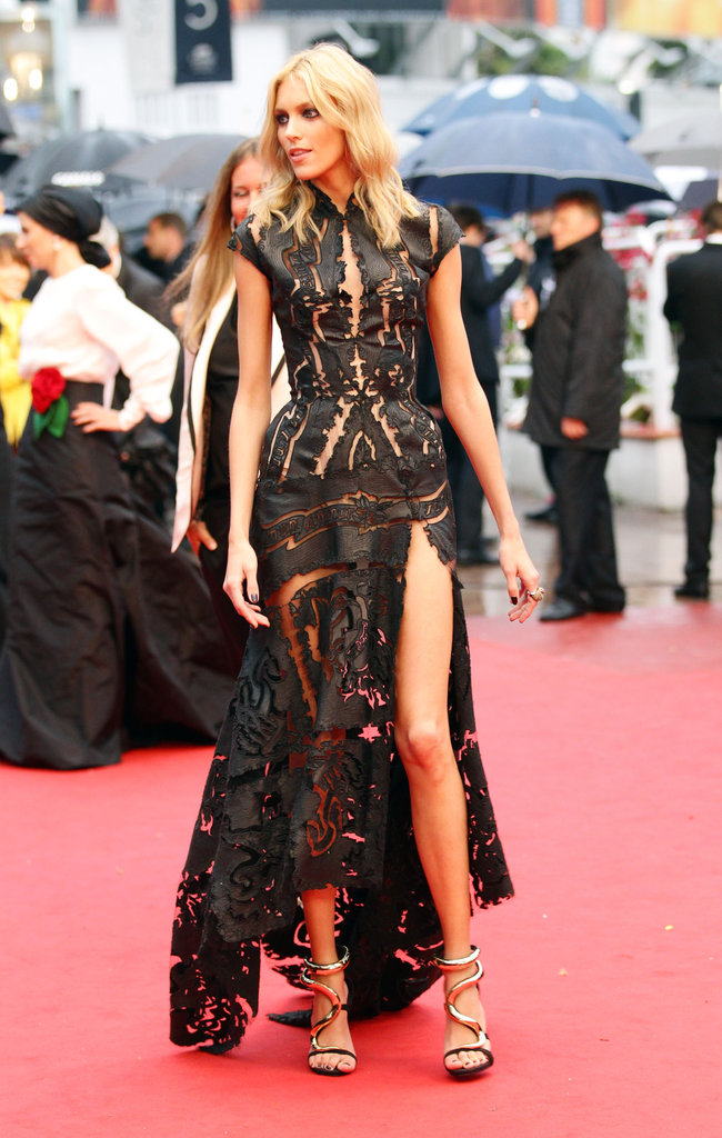 A peek-a-boo gown hit the mark for Anja Rubik.