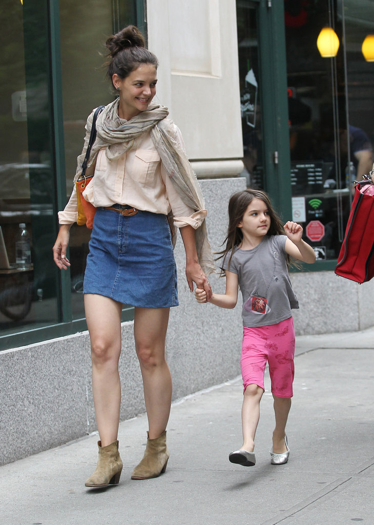 Katie Holmes wore boots while Suri Cruise wore flats in NYC.
