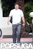 Mark Wahlberg took a walk in Miami.