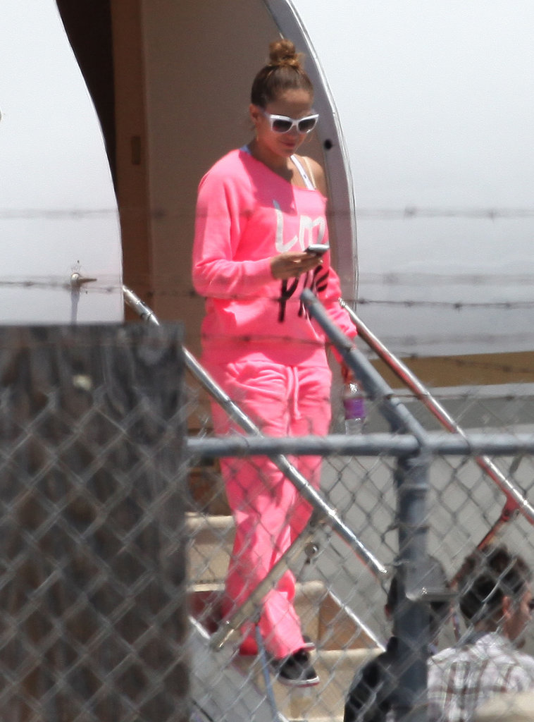 Jennifer Lopez stepped off of a private plane after landing in LA.