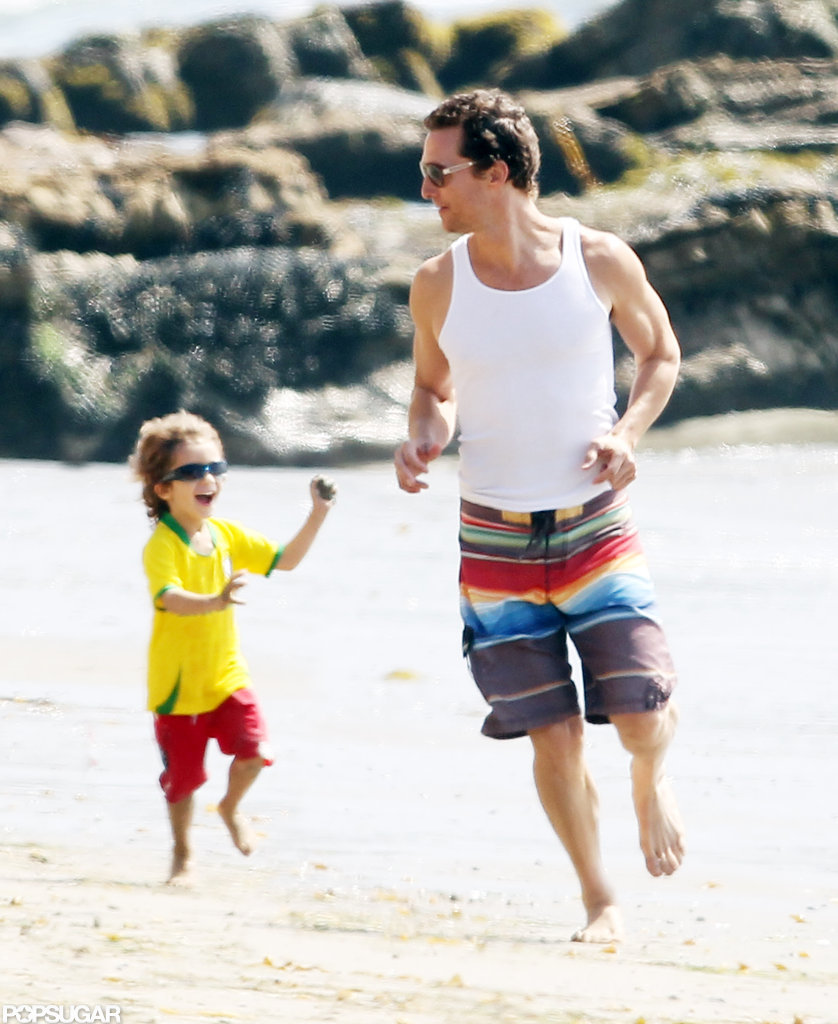 Matthew McConaughey and Levi ran on the beach in Malibu.