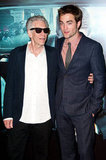 Robert Pattinson and David Cronenberg posed together on the red carper at the Cosmopolis premiere.