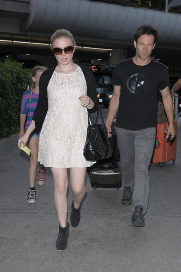 Pregnant Anna Paquin got picked up at the airport by Stephen Moyer and his daughter, Lilac.