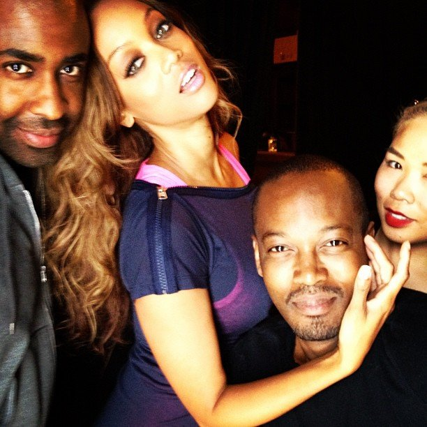 Tyra Banks struck a pose with her glam squad.  Source: Instagram User tyra banks