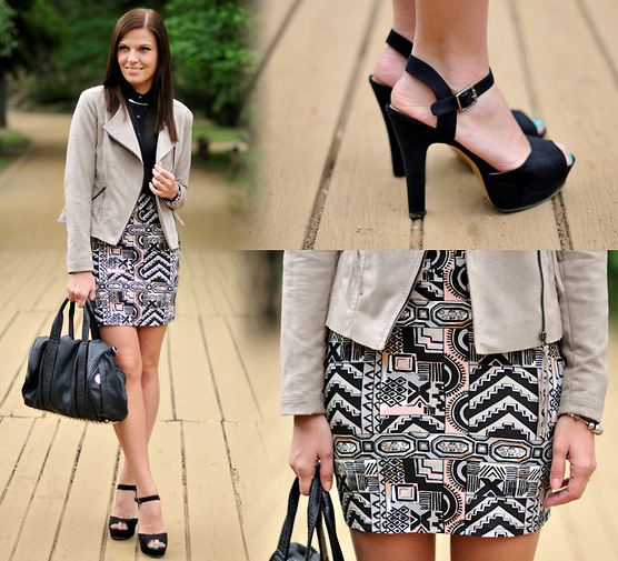 Update your nine-to-five look with tribal prints and a neutral topper. Photo courtesy of Lookbook.nu