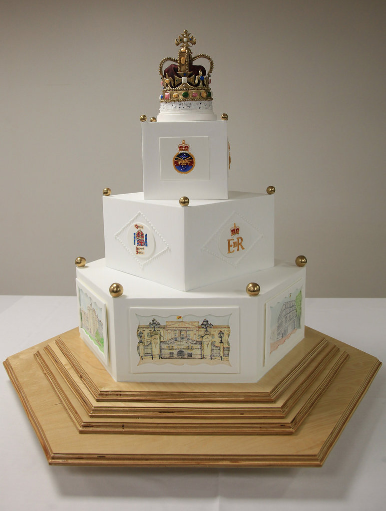 The Queen's Diamond Jubilee cake will be unveiled to her majesty and her guests on Saturday.