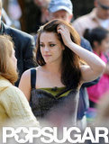 Kristen Stewart ran her hands through her hair at her Today show appearance in NYC.