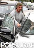 David Beckham got into his car after a jog in London.