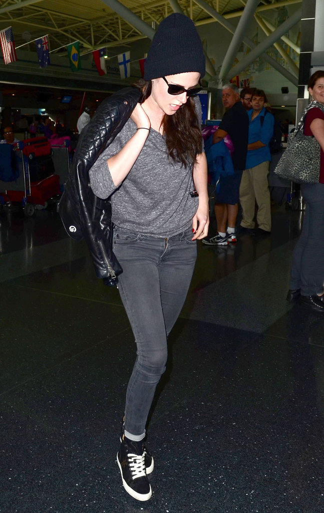 Kristen Stewart arrived at JFK airport in NYC.