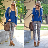 We love this cool-girl mix of bold color, pattern, and staple booties.  Photo courtesy of Lookbook.nu