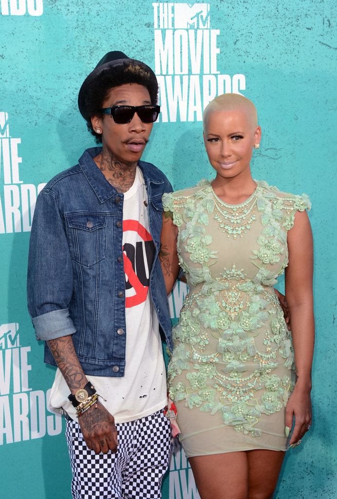 Wiz Khalifa and Amber Rose posed together on the red carpet.
