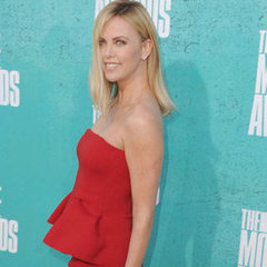 Charlize Theron Pictures in Red Lanvin Dress at 2012 MTV Movie Awards