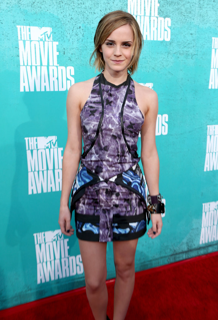 Emma Watson in a printed dress at the 2012 MTV Movie Awards.