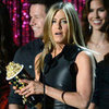 Jennifer Aniston Black Leather Dress Pictures at 2012 Movie Awards