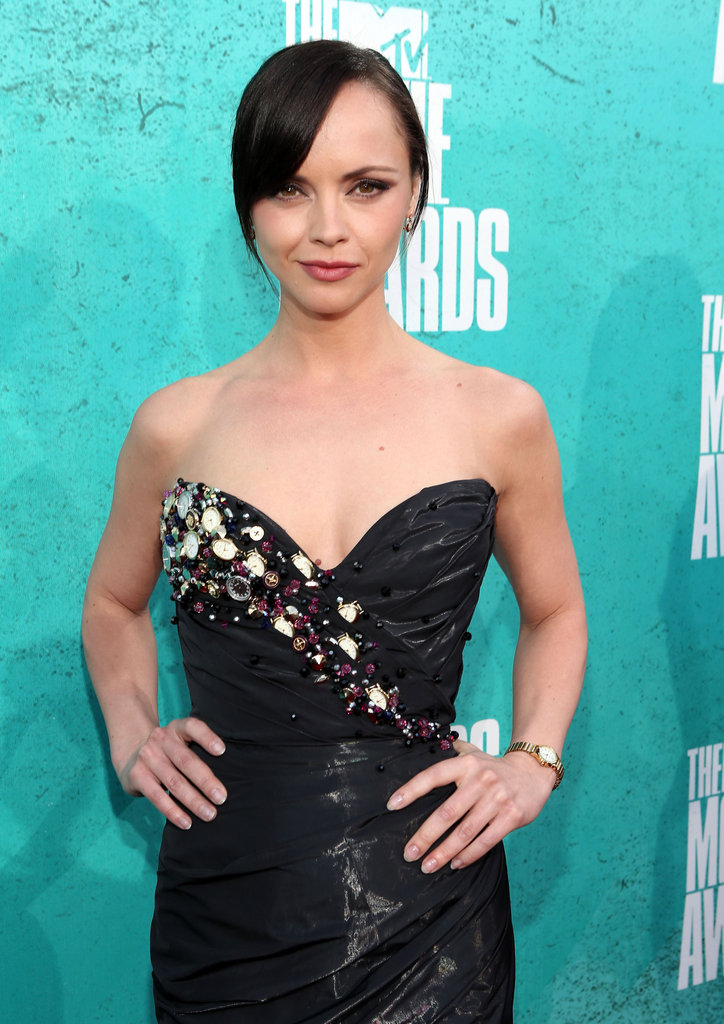 Christina Ricci wore a little black dress.