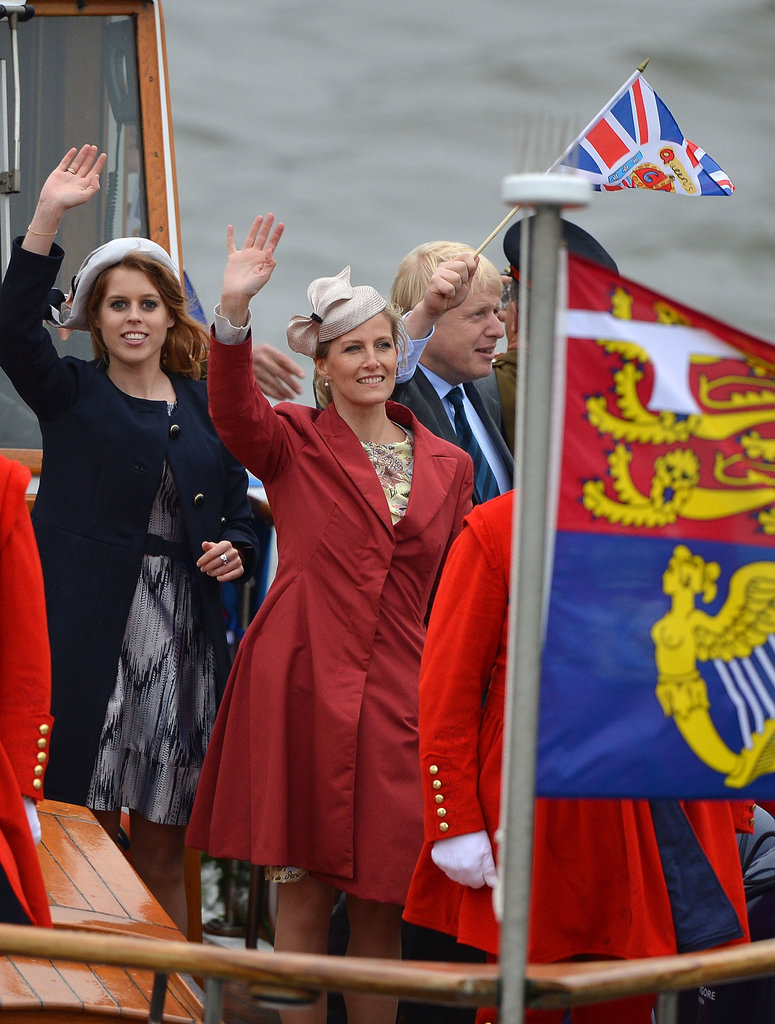 Princess Beatrice of York and Sophie, countess of Wessex, attended the Diamond Jubilee Thames River Pageant.