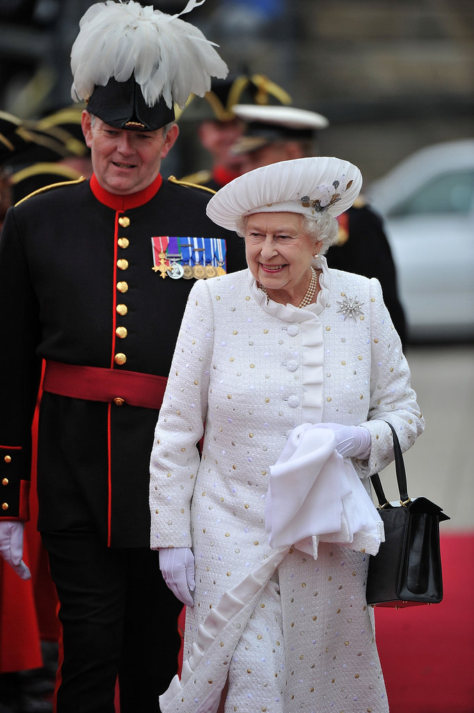Queen Elizabeth was radiant in white.