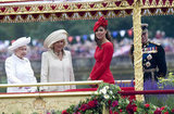 Queen Elizabeth II; Camilla, duchess of Cornwall; Catherine, duchess of Cambridge; and Prince Philip, duke of Edinburgh, looked out from the barge during the Thames Diamond Jubilee Pageant.