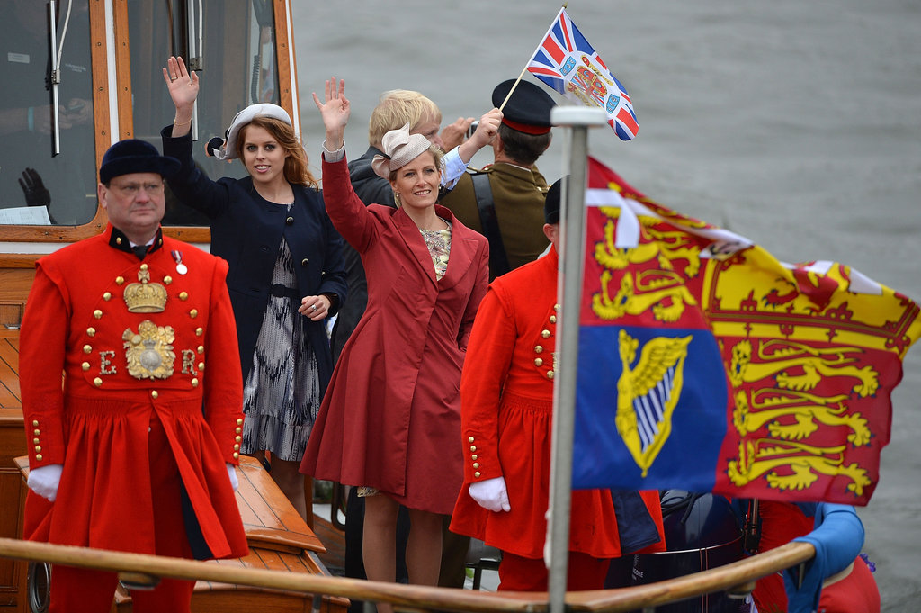 Princess Beatrice of York and Sophie, countess of Wessex, waved during the pageant.