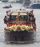 The royal barge, Spirit of Chartwell, carried the royals down the river.
