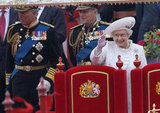 The queen waved aboard the Spirit of Chartwell for the Thames Diamond Jubilee Pageant.