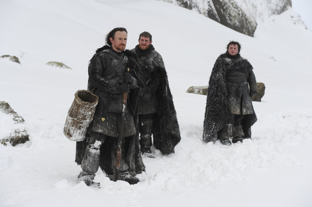 Jerome Flynn as Bronn, Mark Stanley as Grenn, and John Bradley as Samwell on Game of Thrones.