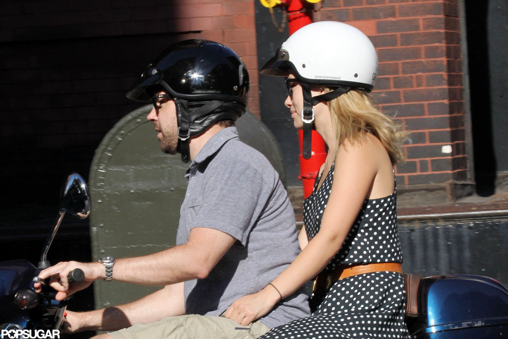 Olivia Wilde looked cute in a polka-dot dress and helmet while Jason Sudeikis navigated the NYC streets.