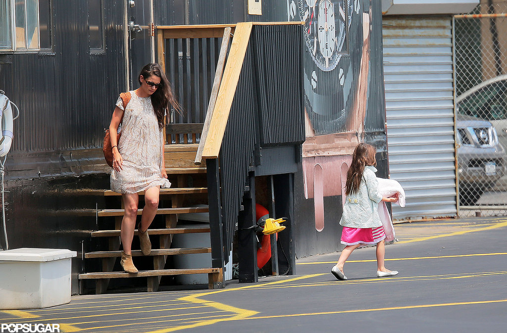 Katie Holmes and Suri Cruise got on a helicopter in NYC.