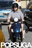 Jason Sudeikis drove the Vespa while his girlfriend Olivia Wilde held on tight.