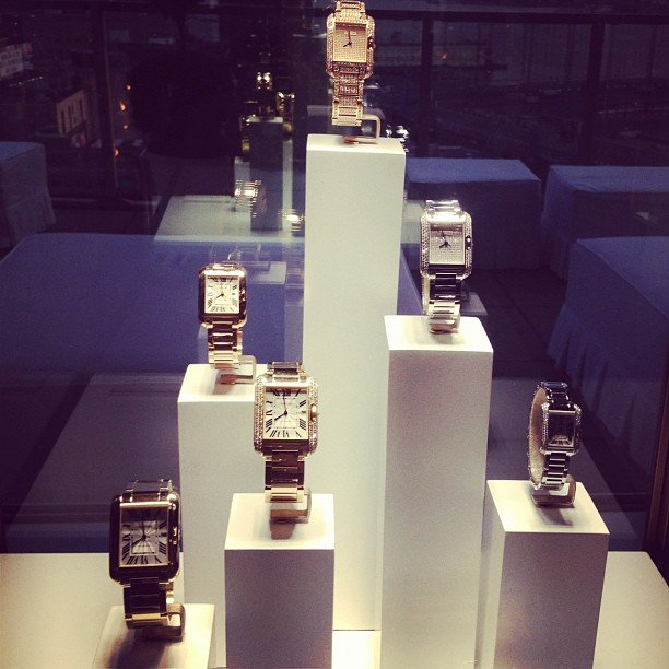 Eye candy: we couldn't help but pause for a moment to admire the classic Tank Watches at Cartier.