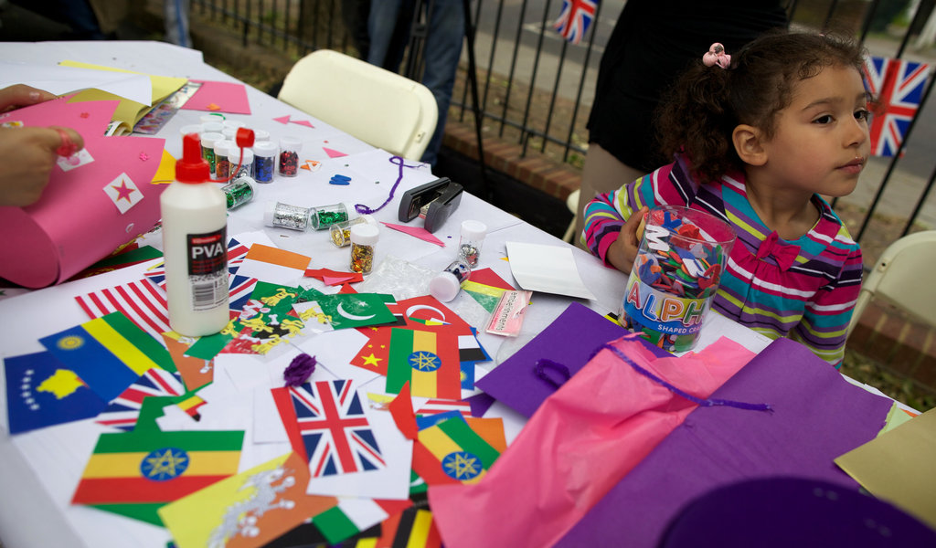A girl took part in a Diamond Jubilee street party.