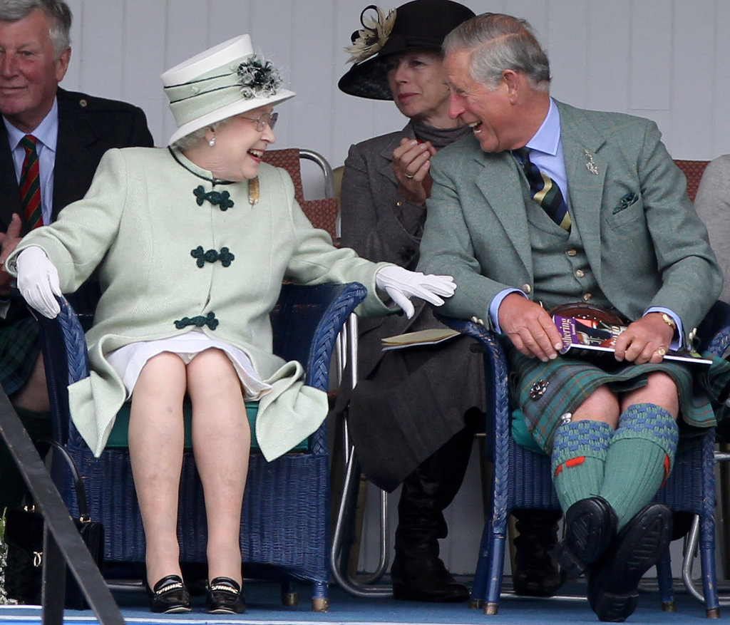 The Queen shared a laugh with Prince Charles while watching the  tug-of-war during the Braemar Highland Games at The Princess Royal and Duke of Fife Memorial Park on September 4, 2010 in Braemar, Scotland.